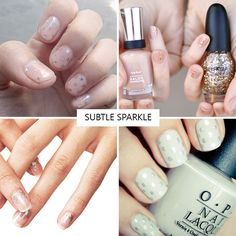 Subtle Sparkle nail inspiration   see all the nail trends for 2016 at www.onefabday.com