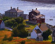 Red House, Monhegan x 15 Monhegan Island, Nantucket Island, Take Me Home, Town And Country, Nature Paintings, Tree Art, House Painting, Beautiful Landscapes, New England