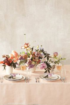a whimsical table of flowers