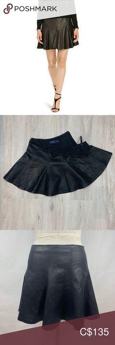 Polo Ralph Lauren A-Line Leather Mini Skater Skirt Mini Skater Skirt, Sequin Mini Skirts, Denim Mini Skirt, Ralph Lauren Skirts, Polo Ralph Lauren, White Lace Skirt, Sports Skirts, White Denim Jeans, Slip Skirts