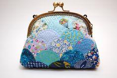 Customized Handbag Purse / Cosmetic Bag - Small Shell - Cotton Fabric with Metal Frame & Cross Hand Bag Belt