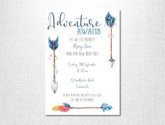 Adventure Baby Shower Invitation ~ Boho Baby Shower Invitation ~ Arrow Baby Shower Invitation ~ Baby Sprinkle Invitation ~ Baby Boy Invites by LoveStoryInvitations on Etsy https://www.etsy.com/listing/514870529/adventure-baby-shower-invitation-boho