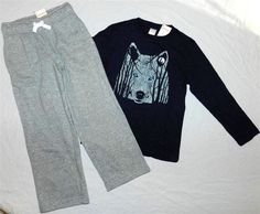 Pant Outfit Gray Gymboree 2pc Navy Wolf Casual Boy sizes 6 New #Gymboree #CasualPantOutfit2pc