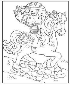 Strawberry Shortcake Horse Riding coloring picture for kids