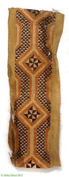 Africa | Kuba Skirt of Barkcloth and Raffia.  DR Congo