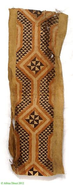 Africa | Kuba Skirt of Barkcloth and Raffia.  DR Congo