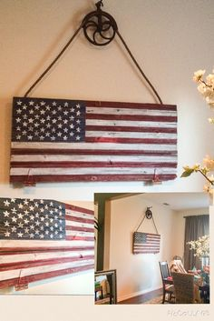This was a project of love.  Old barn gate I acquired from my uncles farm in Iowa.  Hung with an old well pulley.  I painted an American Flag and hung this in my dining room.  My favorite piece I've ever done.  Also, perfect that I hung this right before Independence Day.
