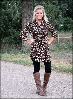 cheetah print tunic dress with belt: