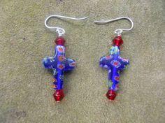 Glass milifiore cross pierced earrings by VickiLynnsDesigns, $11.00