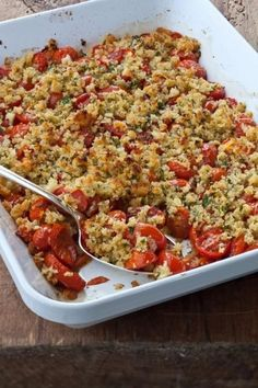Provençal Cherry Tomato Gratin, from Barefoot Contessa: Foolproof Recipes You Can Trust, by Ina Garten. Side Dish Recipes, Vegetable Recipes, Vegetarian Recipes, Cooking Recipes, Healthy Recipes, Cooking Tips, Recipes Dinner, Pasta Recipes, Healthy Snacks