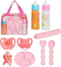 Amazon.com: FASH N KOLOR Baby Doll Feeding Set with Doll Magic Bottles in a Baby Bag Set- 8 Piece Baby Doll Feeding Set with Baby Doll Accessories, Pretend Play Set for Kids 2+ Years: Toys & Games Baby Doll Car Seat, Baby Doll Diaper Bag, Baby Doll Toys, Baby Alive Dolls, Barbie Doll Set, Barbie Toys, Little Girl Toys, Toys For Girls, Kids Toys