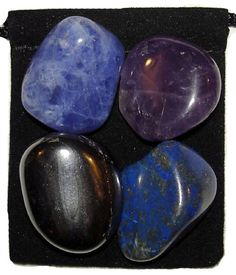 INSOMNIA Tumbled Crystal Healing Set with Pouch & Card - 4 Gemstones w/Description Pouch - Amethyst, Hematite, Lapis Lazuli,Sodalite. $4.99, via Etsy.