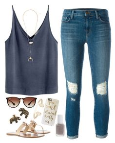 accessorize. by jordanawarren on Polyvore featuring J Brand, Tory Burch, Kendra Scott, Casetify, Ray-Ban and Essie