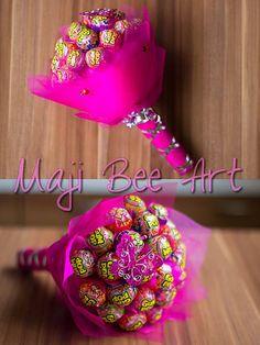 Lízatková kytica - ružová