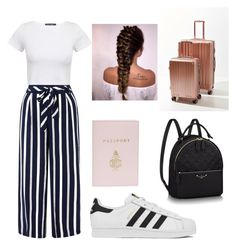 """""""TRAVEL OUTFIT✈"""" by outfitt ❤ liked on Polyvore featuring Monsoon, adidas, Mark Cross and CalPak"""