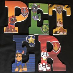 Custom wooden letters hanging Paw Patrol by YouNameItByJessica