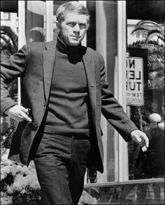 Steve McQueen in Bullit wearing turtleneck sweater. The quintessential McQueen role.