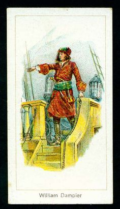 Cigarette Card - William Dampier, Pirate. Carreras Cigarettes, Highwaymen.
