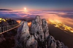 Mount Ai-Petry  Ai-Petry mountain is located in Crimea, Ukraine at an height of 1234 meters. View from the hanging bridges is breathtaking.
