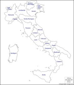 Italy : free map, regions Map Outline, Printable Maps, Printables, Italy Tattoo, Italy For Kids, Council Of Europe, States And Capitals, Italian Lessons, Italy
