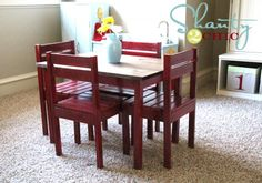 Table and Chairs for the Playroom - Shanty 2 Chic Chairs For Rent, Diy Kids Table, Table, Blue Chairs Living Room, Diy Chair, Small Table And Chairs, Homemade Furniture, Garden Table And Chairs, Kid Table