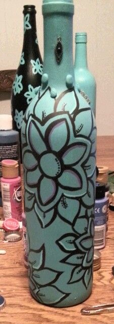 hand painted wine bottles, recycle your old glass bottles!