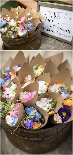 """""""To toss as the bride & groom make their exit!"""" sign, brown paper cups of colorful widlflowers, wedding exit ideas // Arrowood Photography"""