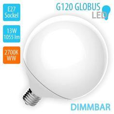 G120 Globus 230V E27 LED Leuchtmittel, 1055lm, 13W, 2700K, warmweiß, 200°, DIMMBAR, 15000 Schaltzyklen, 20000 Stunden Lebensdauer