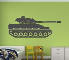 Army style tank with canon Wall Sticker/Decal - available in a great range of colours!