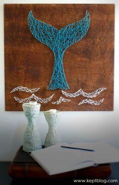 iplik sanatı basit balina kendin yap string art