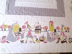 """Vintage 50s BBQ Tablecloth Pink Yellow Gray Browns-Picnic/Barbecue 54"""" x 64 