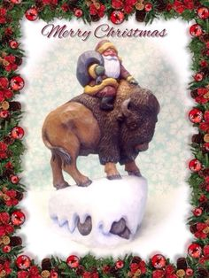 Hand-carved-Santa-on-buffalo-bison-by-Susan-M-Smith