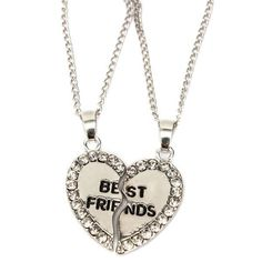 Rhinestone Broken Heart Double Parts Best Friend Pendant Necklaces