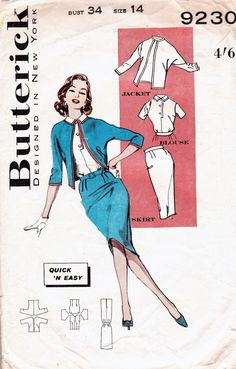 1960s Vintage sewing pattern Butterick