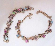 Karu of New York Pastel Rhinestones Necklace and Bracelet Set  Vintage