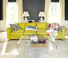 chartreuse sofa with charcoal piping :: living room :: Charles Luck Stone Center