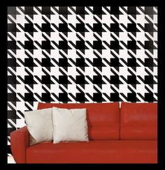 Houndstooth wall but with a purple couch instead ;)
