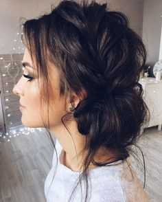 Beautiful updo with side braid wedding hairstyle for romantic bridess. Get inspired by this braid updo bridal hairstyle,loose updo messy wedding hairstyles