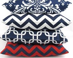 Navy Chevron Pillow Cover  ANY SIZE  blue by DeliciousPillows, $18.00