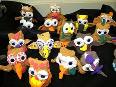 Kindergarden Owls w colored air dry clay