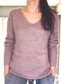 простой женский пуловер спицами