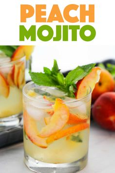 Peach Mojito: the perfect fruity summer cocktail for any gathering A delicious and fruity mojito recipe, this Peach Mojito is a fun twist on a classic rum cocktail - perfect for summer or backyard parties! Sweet Tea Cocktail, Pimms Cocktail, Rum Cocktails, Peach Drinks, Summer Cocktails, Fun Drinks, Yummy Drinks, Pimms Drink, Pimms Punch
