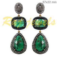 Emerald Gemstone Pave Diamond Designer Dangle Earrings 14k Gold Silver Jewelry #Handmade #DropDangle