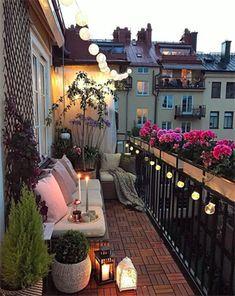 35 DIY Small Apartment Balcony Garden Ideas # Balcony Garden - b a l c o n y - Balkon Apartment Balcony Garden, Apartment Balcony Decorating, Apartment Balconies, Cozy Apartment, European Apartment, Living Room Ideas Small Apartment, Apartment Living, Apartment Patios, City Apartment Decor