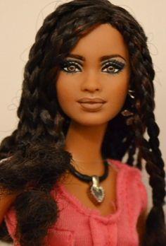 Curly Hairstyles Isla- (pronounced Ees-lah) SIS Trichelle Repaint OOAK Barbie by Doll Anatomy flic. African Dolls, African American Dolls, American Girl, Beautiful Barbie Dolls, Pretty Dolls, Protective Hairstyles For Natural Hair, Natural Hair Styles, Vintage Barbie, Manequin