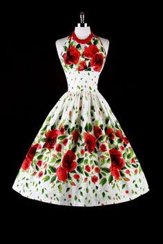 50's vintage rose dress // my mother had a dress like this only the flowers were Hibiscuits....she got it when we lived in Hawaii