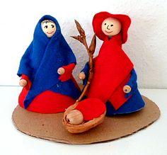 Weihnachtskrippen/basteln-Weihnachten-Maria-Josef-Krippe-Filz-Pfeifenputzer-Zweig