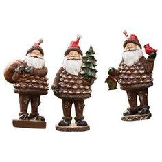 3-Piece Forest Santa Statuette Set
