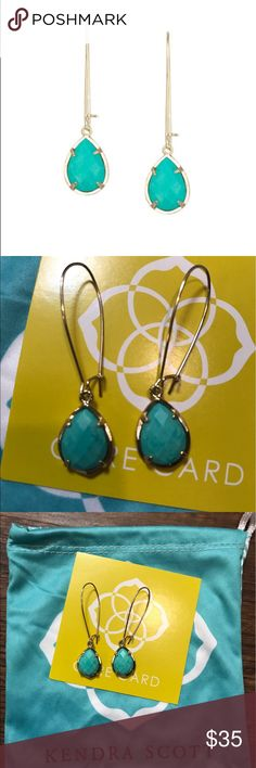 """Kendra Scott Dee Earrings in Teal Beautiful earrings! New without tags! Comes with Kendra Scott jewelry bag. Faceted teardrops dangle from elonganted wires to create a demure silhouette. French wire with safety latch. Approx. drop: 1 7/8"""". Approx. width: 5/8"""". Teal magnesite, 14k-gold plated brass. By Kendra Scott; imported. Kendra Scott Jewelry Earrings"""
