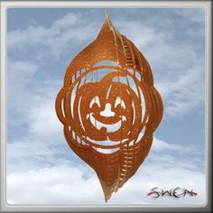 Pumpkin Halloween Orange Swirly Metal Wind Spinner